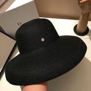 Image 5 - 13cm szerokie rondo kapelusz przeciwsłoneczny na plażę duże dyskietki kobiety kapelusz na lato czerwony czarny biały czerwony UV osłona przeciwsłoneczna słomkowy kapelusz składany Travel Derby Hat