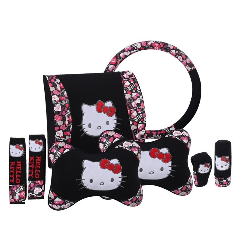 Cartoon Hello Kitty Car Headrests Pillows Lumbar Cushion Seat Belt Auto Steering Wheel Cover Car Accessories Gift Women Girls