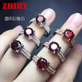 Natural Mozambique garnet ring real 925 sterling silver women gem stone jewelry