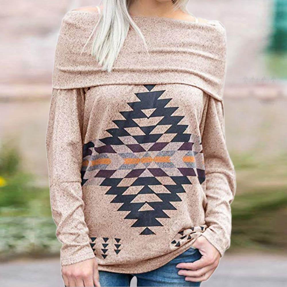 Hoodies Sweatshirt Women 2018 Women Long Sleeve Print Off Shoulder Pullover SweatShirt Tunics Tops Blouse