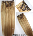 "Free Shipping #18/613 thick 120g-220g  10Pcs set 16""-32"" 100% Brazilian remy  Hair Clips In/on  human hair Extensions"