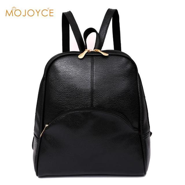 e8010a609042 Высокое качество искусственная кожа женский рюкзак большой емкости  повседневные женские черные рюкзаки модные однотонные школьные сумки