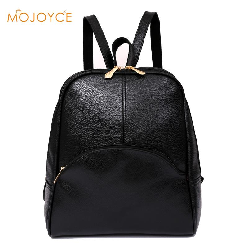 High Quality PU Leather Women Backpack Large Capacity Casual Women Black Backpacks Fashion Solid School Bags For Teenager Girls
