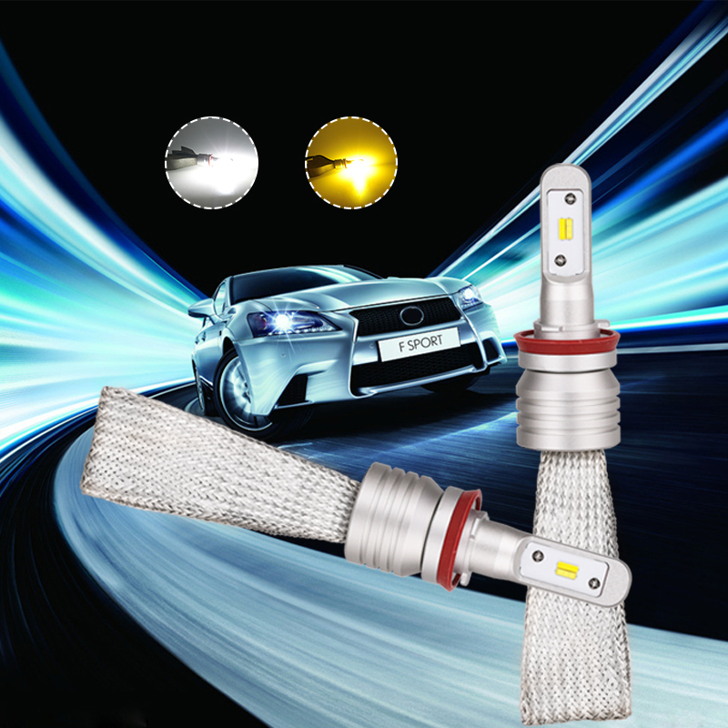 H7 H11 H9 H8 Auto Led Headlight Bulb Dual Color 3000k 6000k Car Driving Fog Lights Lamp Fanless Quick Heat Radiation Car Styling
