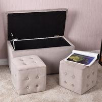 Giantex 3 Piece Tufted Microfiber Storage Stool Bench With 2 Cube Ottoman Set Living Room Organizer