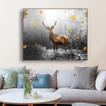 Laeacco Canvas Calligraphy Painting Forest Deer Decorative wall Posters and Prints Nordic Style Wall Picture for Living Room
