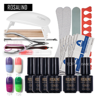 Rosalind Temperature Changing Nail Art Tools Cure 6W UV Lamp Gel Polish Soak Off Base Coat Top Coat Gel Nail Nail Manicure Kits