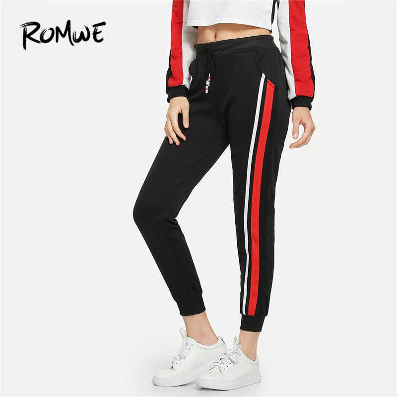 774d20727dcd5f ROMWE Black Drawstring Waist Striped Side Pants Women Casual Autumn Fashion Sweatpants  Bottoms Sporty High Waist