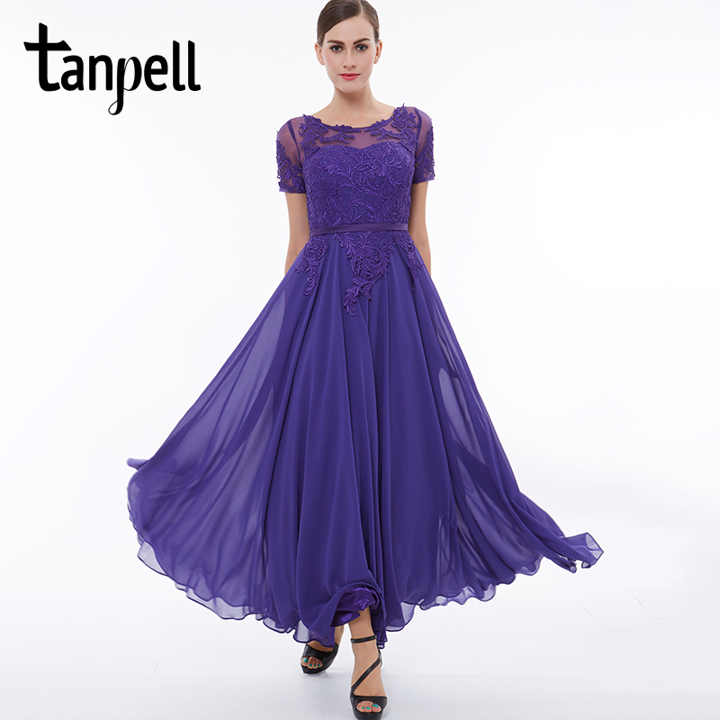 Tanpell short sleeves evening dress scoop purple appliques lace ankle length dresses cheap a line women long party evening gown