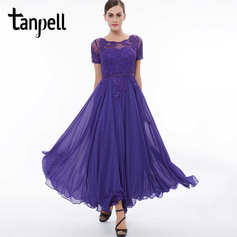 1263fe6aef3 Tanpell short sleeves evening dress scoop purple appliques lace ankle  length dresses cheap a line women