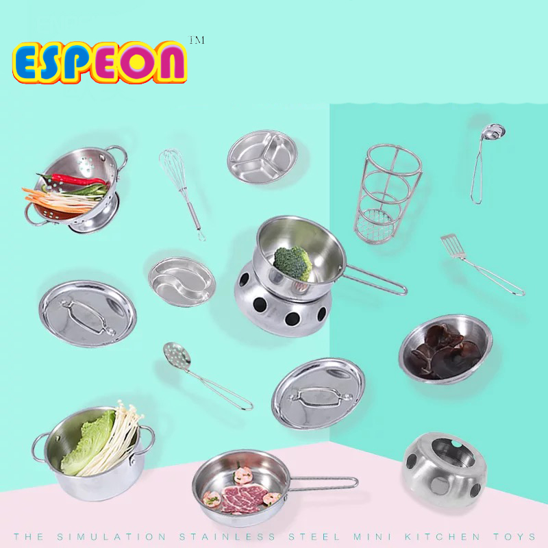 1pcs Kids Funny Kitchen Toy Stainless Steel Pots Pans Cookware Silver Miniature Toy Pretend Play Gift For Kid