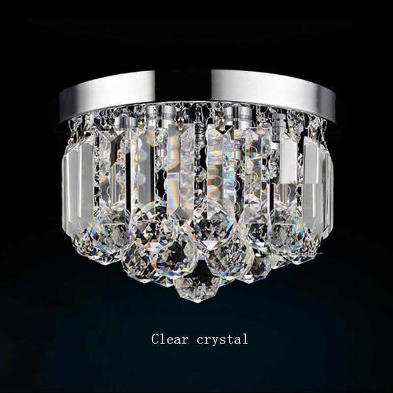 Lampu Kristal Moderen Cognac/Bening Kristal Chandelier Anti Karat Base Foyer Kecil Gaya Lampu E14 Lampu LED