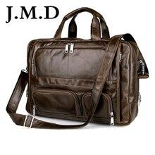 J.m.d 100% echten leder herren aktentasche laptoptasche große größe hand business-tasche kaffee 7289
