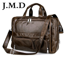 J.M.D 100% Genuine Vintage Leather Men's Briefcase Laptop Bag Big Size Hand Business Bag Coffee 7289