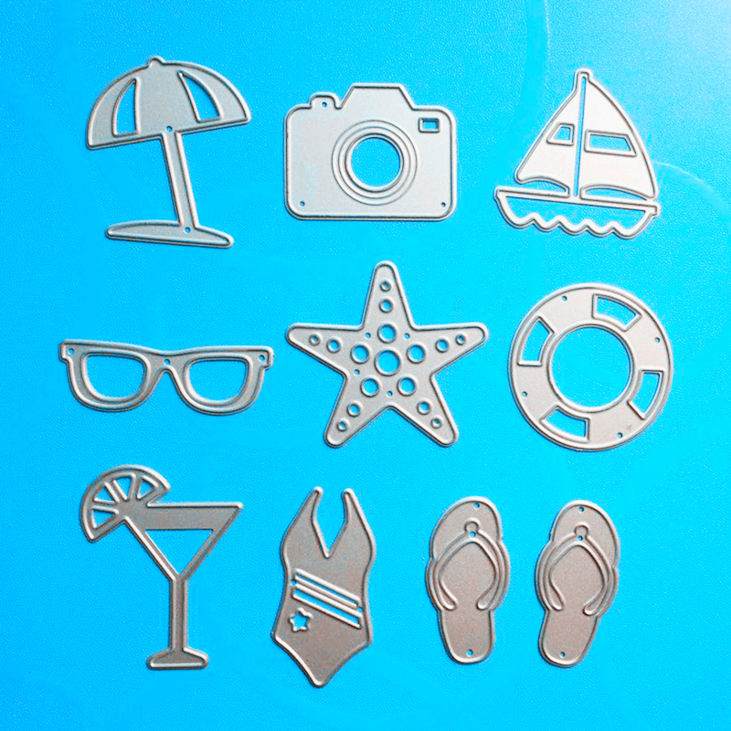 YLCD147 Sommerserie Metal Cutting Dies For Scrapbooking Stencils DIY-kort Dekorasjon Embossing Folder Craft Die Cuts Mal