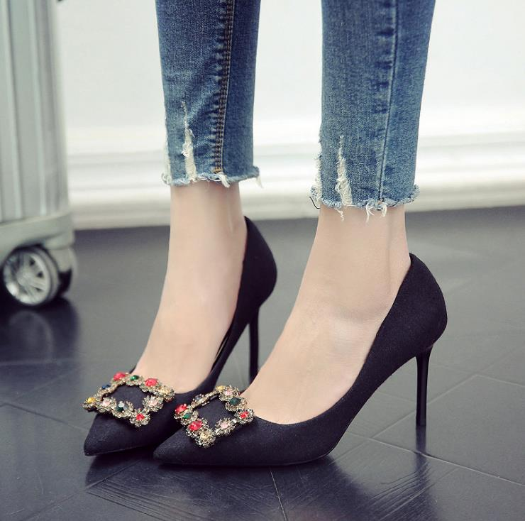 Sauvage À Chaussures Sexy Des Talons Avec Automne Nouveau Carrée Strass Pointes Fines 2018 Femmes De Boucle gris Hauts Noir dxZwHq1zf