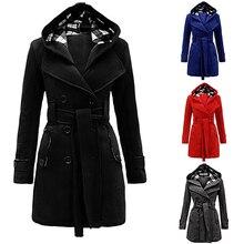 Модные; женские; Теплые Куртка с капюшоном двубортное Ветровка с поясом