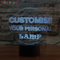 Customized Service 3D Lamp Creative Lamp 7 Color LED Night Lights For Your Personal Lamp Dropship
