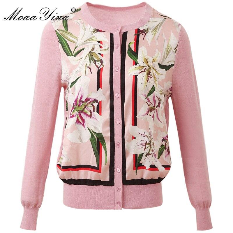 MoaaYina Fashion Breien Truien Trui Lente Vrouwen Lange mouw lelie Bloemen Print Casual Breien Trui-in Truien van Dames Kleding op  Groep 1