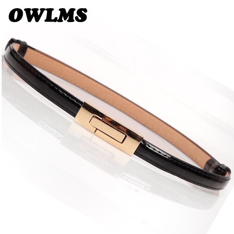 Módní nejnovější design pásu ladies je luxusní zlatá spona HOT tenký pás Doprava zdarma Faux kožené popruh pás nastavitelný ženy