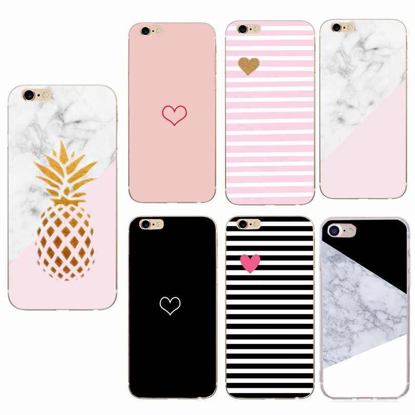 Phone Case For iPhone 6 6s 7 8 Plus X XR XS Max Cartoon Love Heart Couple Mable Print Pink Soft TPU For iPhone 8 Phone Case