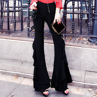 Women Pants Pantalon Femme Ruffled High Waist Slim Thin Bell bottomed Wild Long Leg Pants Female Gloria Jeans Streetwear Clothes