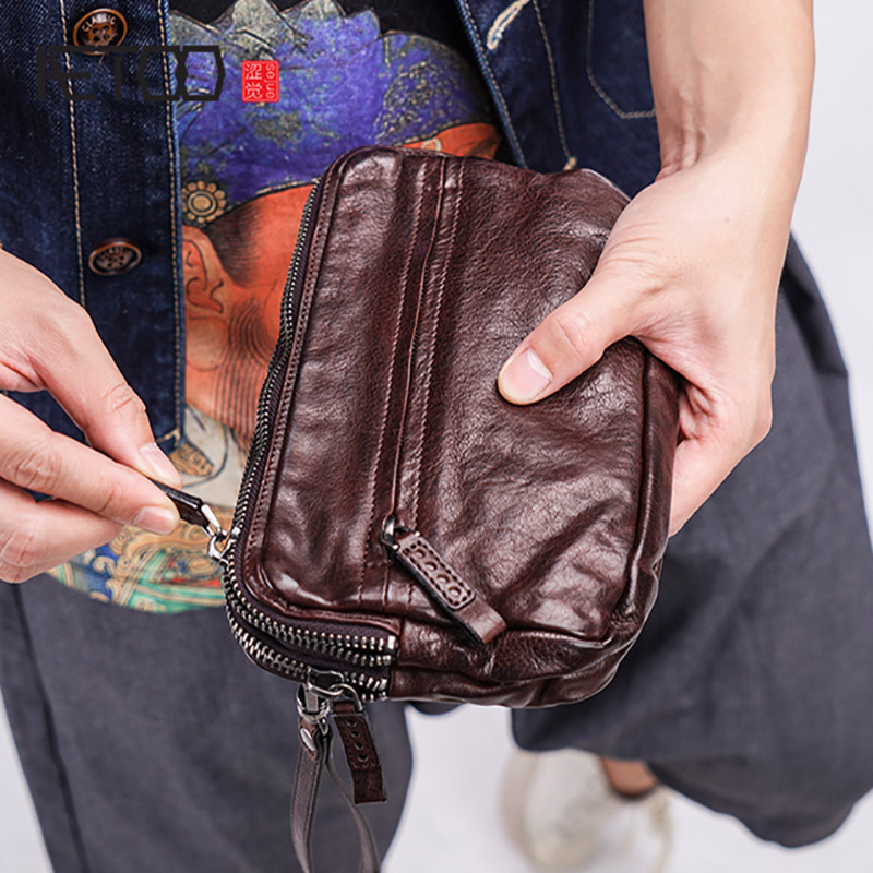 AETOO Mens leather trend hand grip bag male retro large capacity multi-card personality handbagAETOO Mens leather trend hand grip bag male retro large capacity multi-card personality handbag