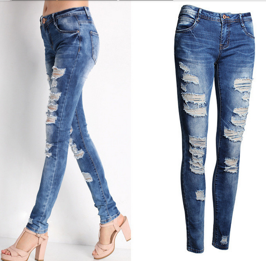 Blue Jeans Pencil Pants Slim Hole Ripped Denim Jeans Casual Stretch Jeans 21
