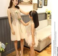 Summer Mother Daughter Dresses Lace Mother And Daughter Clothes Family Look Fashion Party Wedding Family Matching