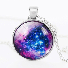 SUTEYI 2018 New Fashion Galaxy Stars Necklace Glass Cabochon Pendant Jewelry Silver Chain Long Necklaces For Men/Women Gift