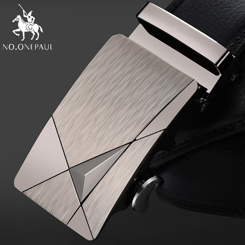 NO.NONEPAUL Men Top Quality Genuine Luxury Leather Belts For Men Strap Male Metal Automatic Buckle Famous Brand Belt ZDC02
