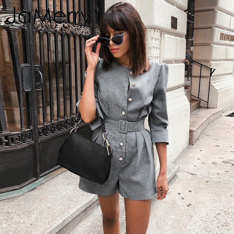 JaMerry Vintage Buttons Blazer Female Playsuit Women Sash Solid Office Lady Work Wear Jumpsuit Romper Short Retro Autumn Overall