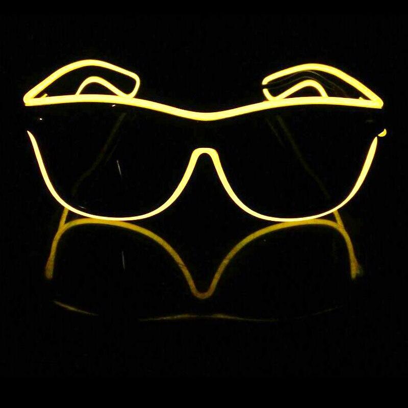 DHL livraison gratuite 100 ensemble/lot EL lunettes EL fil mode néon lumière LED Up obturateur en forme de lunettes Rave Festival partie décorative