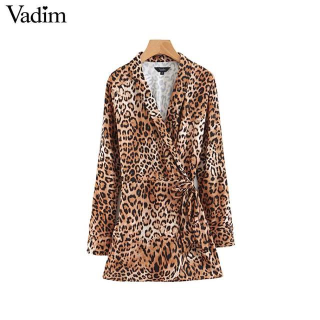 Patrón Cintura Elástica Leopardo De Mujer Elegante Abrigo Cuello Cruz V Bodys Vadim Corbata Fajas qwgEUCW