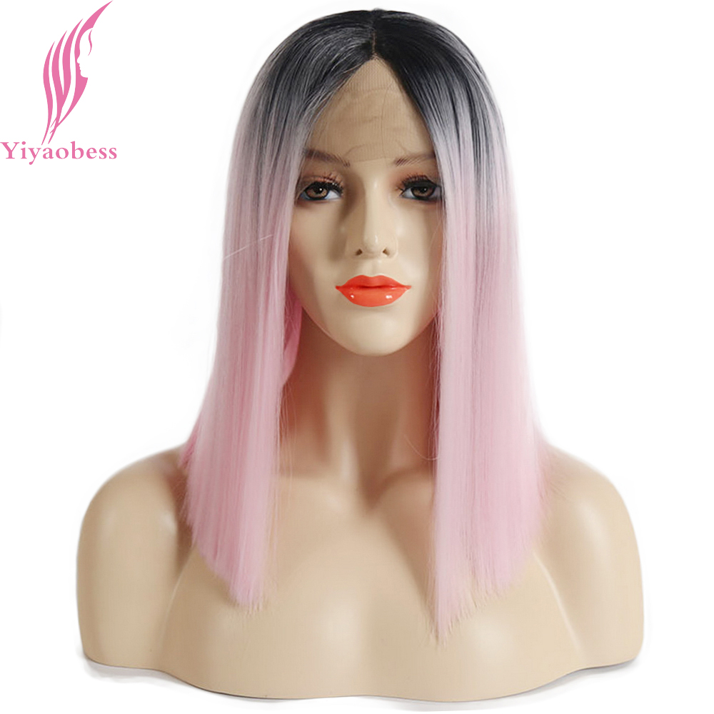 Yiyaobess 14inch Black Pink Ombre Lace Front Wig Straight Synthetic Hair Two Tone Medium Bob Wigs For Women High Temperature