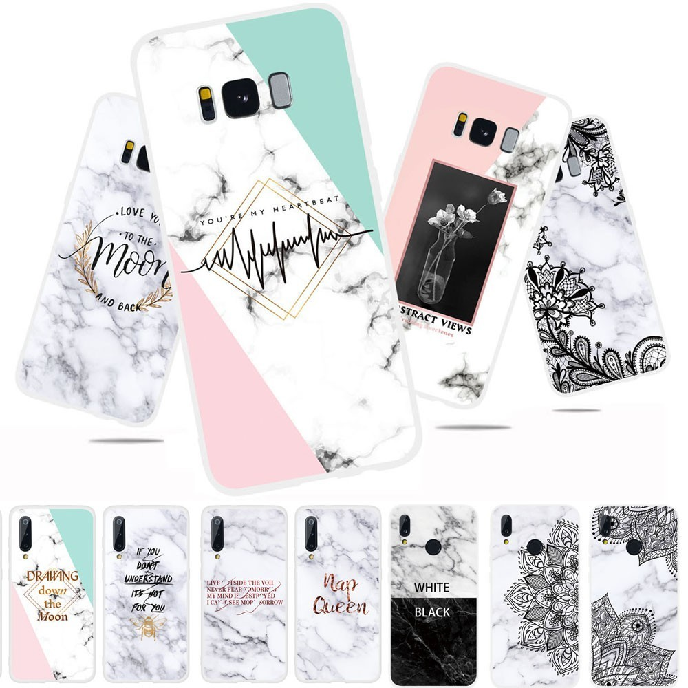 <font><b>White</b></font> Marble Letter Flower Phone <font><b>Case</b></font> For <font><b>Samsung</b></font> Galaxy <font><b>S7</b></font> <font><b>Edge</b></font> S8 S9 S10 S10e Plus Note 8 9 S9+ S10+ Soft TPU Back Cover Couqe image