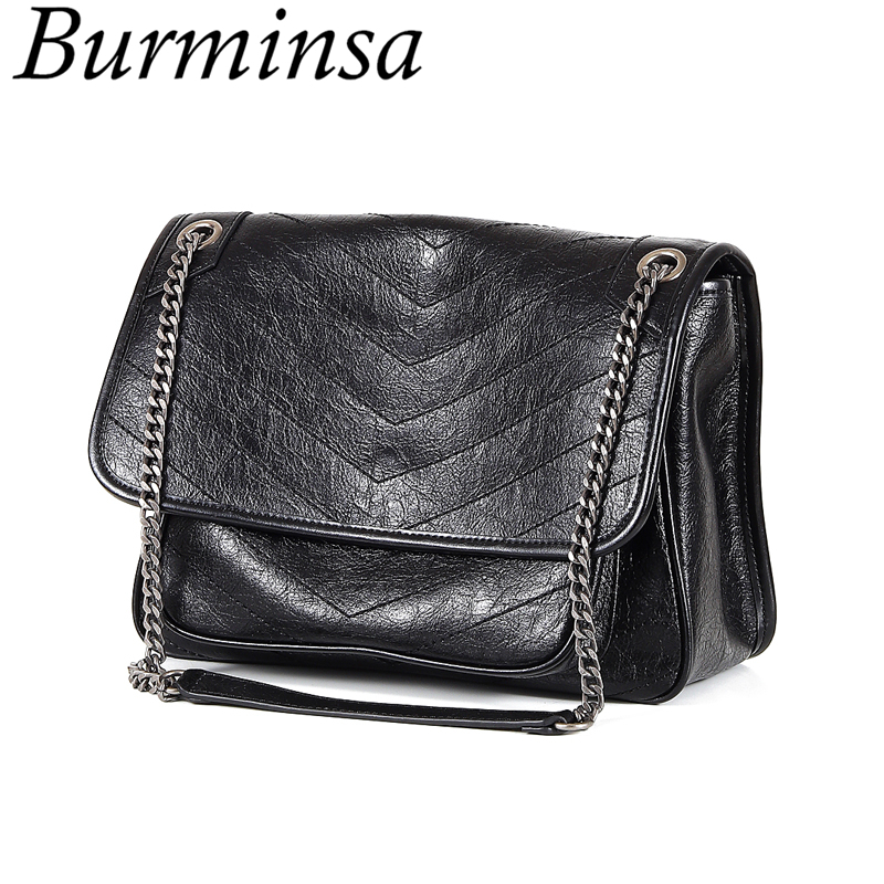 Burminsa Women Chain Genuine Leather Big Satchel Bags Female Vintage Briefcase High Quality Ladies Shoulder Crossbody