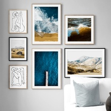 Mountain Sea Beach Abstract Body Art Line Wall Art Canvas Painting Nordic Posters And Prints Wall Pictures For Living Room Decor цена и фото