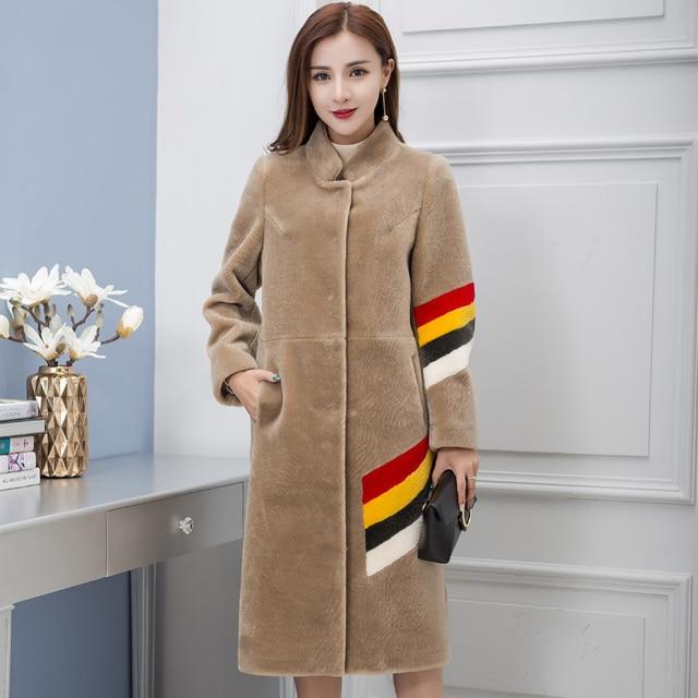 2017 New Women Beige Long Fashion Real Merino Sheep Fur Wool Coat Stand Collar Slim Fit Lady Winter Popular Coat FREE SHIPPING
