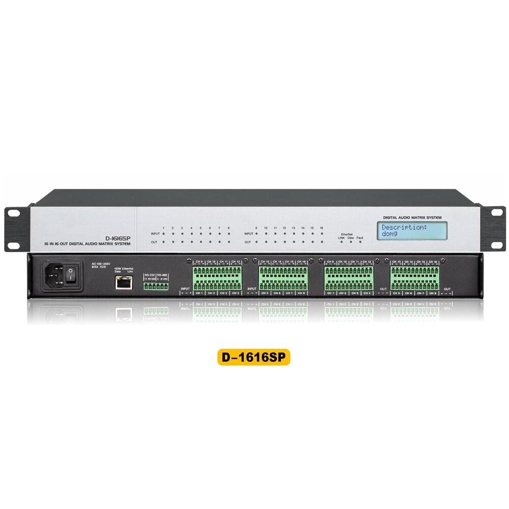 Processeur numérique de matrice Audio de D-1616SP DSP 16-entrée pour le théâtre, salle de concert, église, conférence vidéo à distance, système de son public