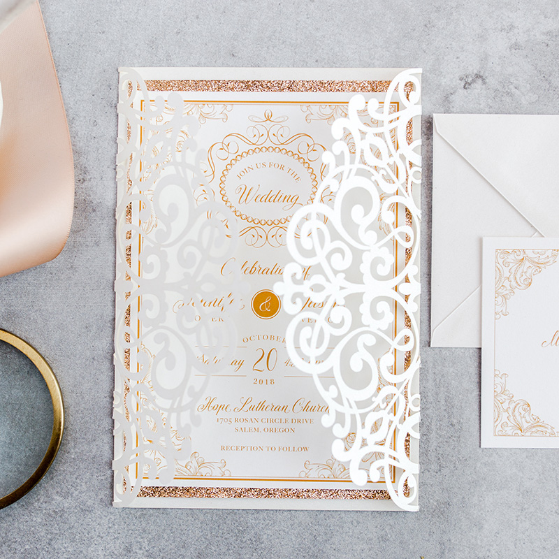 50 Kit Design Fold FLower Lace Wedding Invitations With