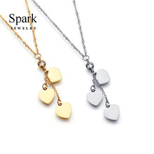 ФОТО spark jewelry lovely women heart pendant necklace stainless steel 3 colors crystal heart charm necklace for female gift bijoux