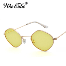 WHO CUTIE 2017 Polygon Rhombus Sunglasses Women Tint Yellow Lens Female Celebrity Day Night Sun Glasses Ray Shades oculos OM349