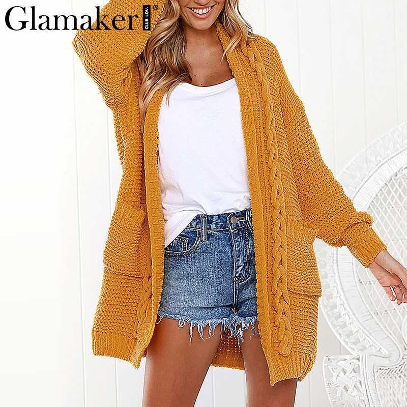 Glamaker свободный желтый вязаный толстый длинный женский кардиган пальто серый летний пуловер Женский Фитнес хлопок модный Дамский джемпер