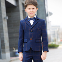 Flower Boys Formal School Suit for Weddings Child Blazer Shirt Vest Pants Tie 5pcs Tuxedo Kids Prom Party Dress Clothing Set