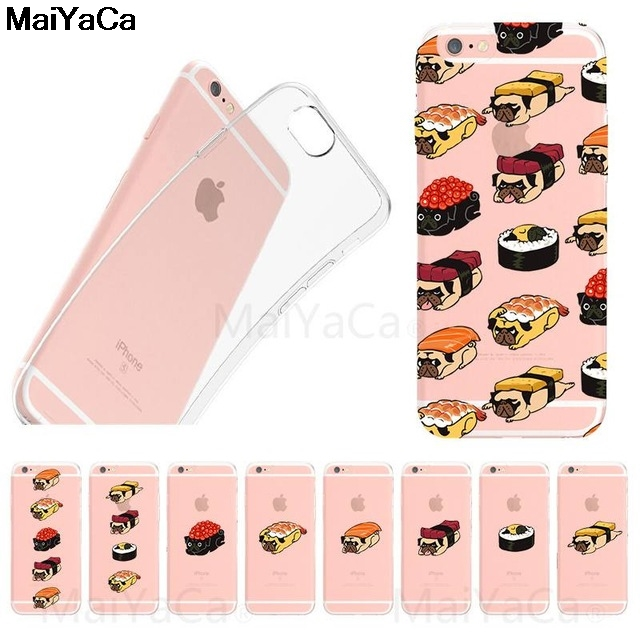 Phone Bags & Cases Maiyaca Sushi Pug Novelty Fundas For Iphone 4s Se 5c 5s 5 6 6s 7 8 Plus X Xr Xs Max Phone Cases Transparent Soft Tpu Cover Cases Cheapest Price From Our Site Half-wrapped Case