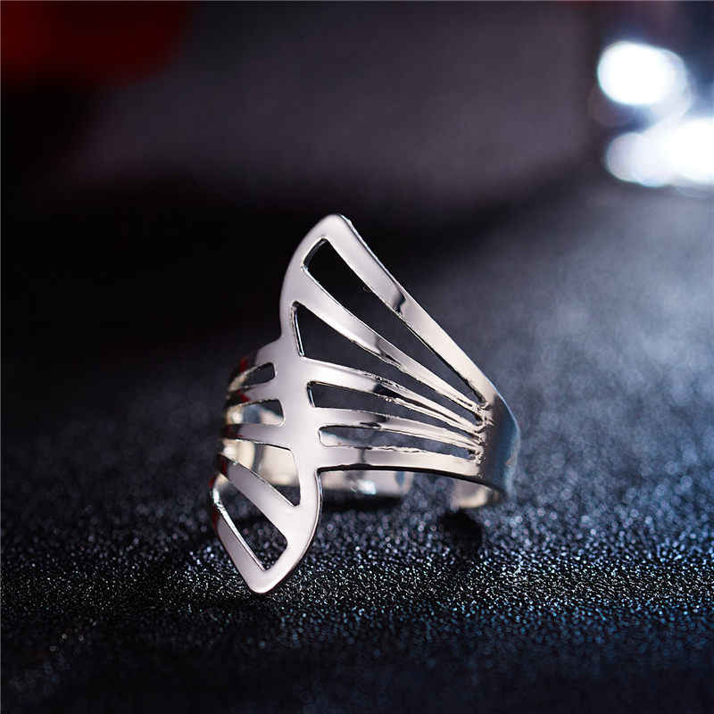 2019 New Fashion Silver Asymmetrical Hollow Stripe Opening Ring  For Women Punk Alloy Finger Rings Simple Boho Jewelry