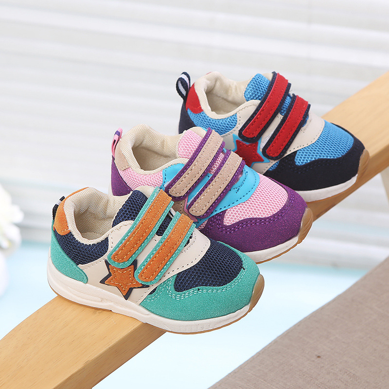 2018 All seasons breathable running shoes for children rubber Patchwork sports sneakers for boys girls excellent kids baby shoes jewelry for all seasons