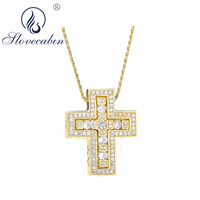 Slovecabin Men Luxury Jewelry Authentic 925 Sterling Silver Cross Pendant Necklaces For Men Bijoux Japanese Silver Jewelry