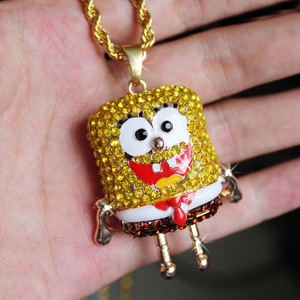 Image 4 - Karopel De Spongebob Squarepants Hangers Hip Hop Retro Cartoon Ketting Iced Out Gold Touw Mens Chain Bling